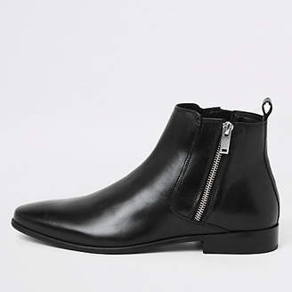 River Island Black leather side chelsea boots