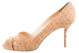 Christian Louboutin Cork Peep-Toe Pumps