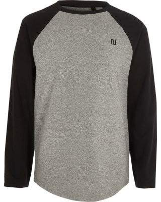 River Island Boys grey long raglan sleeve T-shirt