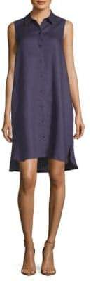 Saks Fifth Avenue BLACK Sleeveless Linen Shiftdress