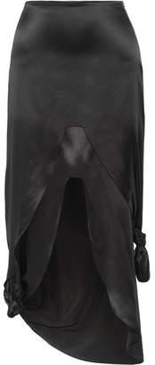 Marques Almeida Marques' Almeida - Asymmetric Knotted Silk-satin Midi Skirt - Black