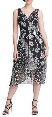 DKNY Wrap Handkerchief Midi Fit--Flare Dress