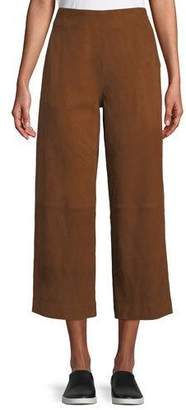 Vince Cropped High-Rise Suede Culottes