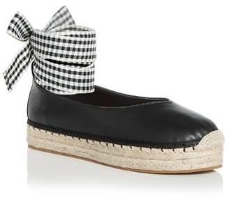 AVEC LES FILLES Women's Georgie Leather Ankle Tie Platform Espadrille Flats