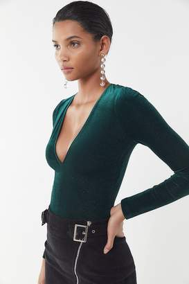 Urban Outfitters Bree Velvet Plunging Long Sleeve Top