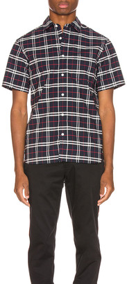 Burberry George Small Stretch Check Shirt in Navy | FWRD