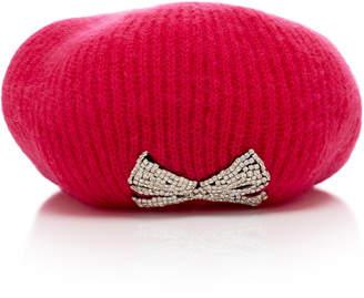 Jennifer Behr Carina Crystal-Embellished Ribbed Mohair-Blend Beret