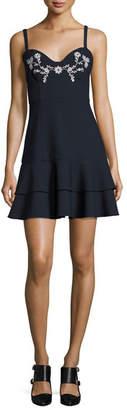 Cinq à Sept Dara Embroidered Sleeveless Mini Dress