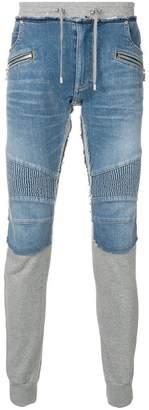 Balmain mixed fabric denim track trousers