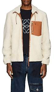 Loewe Men's Leather-Trimmed Shearling Jacket-Ivorybone