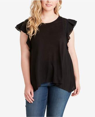 Jessica Simpson Juniors' Plus Size Lace-Trim T-Shirt