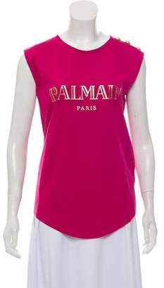 Balmain Sleeveless Crew Neck Top