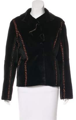 Fur Mink Ruffle-Trimmed Jacket