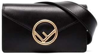 Fendi black logo leather belt bag