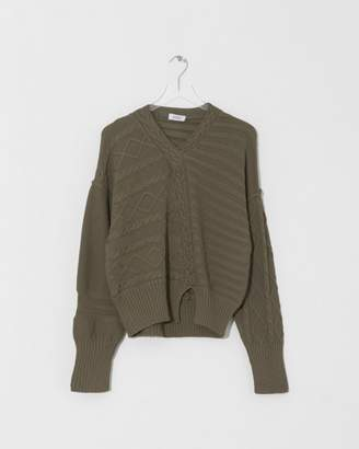 Nomia Olive Deconstructed Cable Knit
