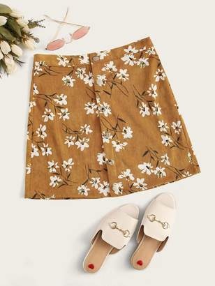 Shein Ditsy Floral Button Front Corduroy Skirt