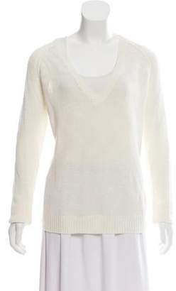 360 Sweater V-Neck Open-Knit Sweater