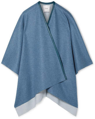 Agnona Leather-trimmed Cashmere Cape - Blue