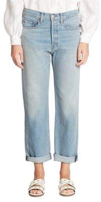 Elizabeth and James Cuffed Boyfriend Jeans