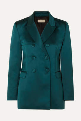 Les Héroïnes The Gladys Double-breasted Duchesse-satin Blazer - Teal