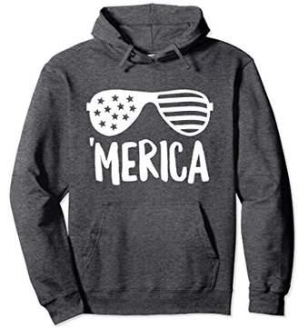 Merica Sunglasses USA Fourth of July Brush Hoodie (Dark)