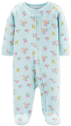 Carter's Carter Baby Girls 1-Pc. Floral-Print Cotton Footed Pajamas