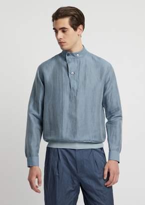 Emporio Armani Linen Blend Shirt With Jersey Hem