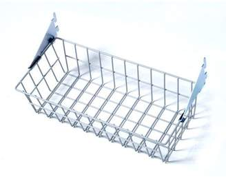 "Storability 15""W x 4""H x 6-1/2""D Gray Epoxy Coated Steel Wire Basket with Lock-On Hanging Brackets"