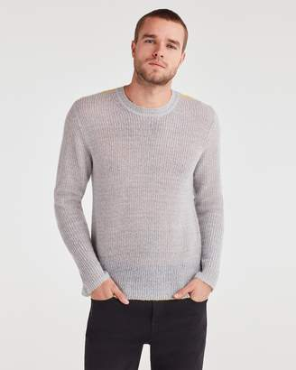 7 For All Mankind Contrast Linking Sweater in Heather Grey with Yellow Linking