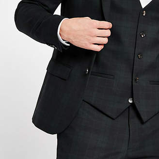 River Island Green plaid check suit vest
