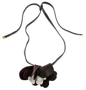 Marni Leather & Crystal Flower Pendant Necklace