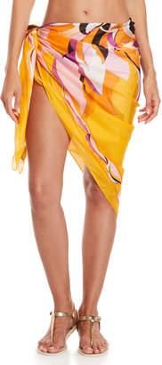 Emilio Pucci Orange Printed Wrap Cover-Up Skirt