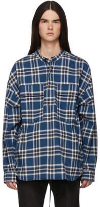 Fear Of God Blue Plaid Pullover Henley Shirt