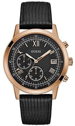 GUESS Men's SUMMIT 44mm Leather Band Steel Case Quartz Watch W1000G4