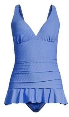 Gottex Swim Swim Women's Ribbons Ruffle One-Piece Swim Dress - Bondi Blue - Size 6