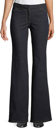Theory Demitria 2 D Movement Dark-Wash Flare Stretch-Denim Jeans