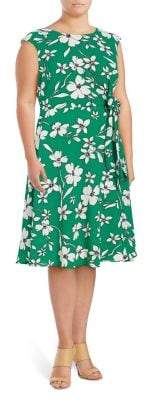 Eliza J Plus Floral-Print Fit-and-Flare Dress