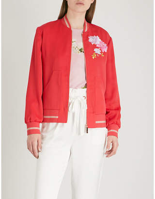 Ted Baker Ruuthe embroidered satin-crepe jacket