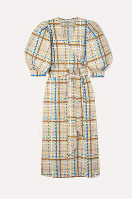 Ganni Checked Cotton-poplin Wrap Dress - Light blue