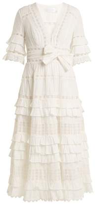 Zimmermann Corsail Lace Insert Cotton Dress - Womens - Ivory