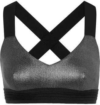 NO KA 'OI NO KA'OI Mahina Ola Metallic Stretch Sports Bra - Black