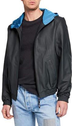Yves Salomon Men's Hooded Lamb Leather Zip-Front Jacket
