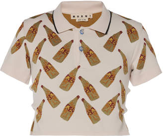 Marni Printed Cropped Polo Shirt