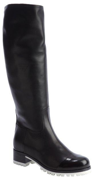 Miu Miu Black Leather Lug Sole Boots