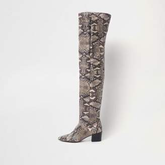 River Island Beige snake slouch over the knee boots