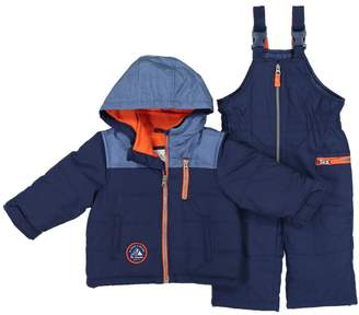 Carter's Baby Boy Colorblock Heavyweight Hooded Winter Jacket & Bib Overall Snow Pants