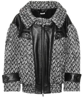 Miu Miu Oversized tweed and leather jacket