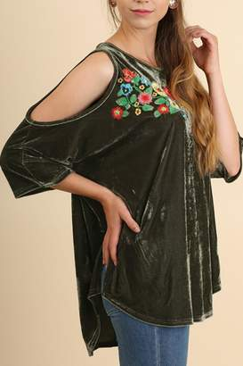 Umgee USA Embroidered Velvet Top
