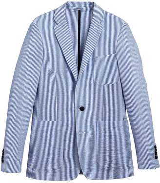 Burberry Slim Fit Cotton Blend Seersucker Tailored Jacket