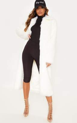 PrettyLittleThing Cream Maxi Faux Fur Coat